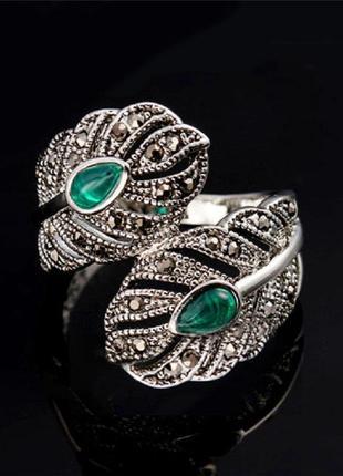 Скидка -50% на вторую вещь серебристое кольцо перстень с зеленым камнем и горным хрусталем