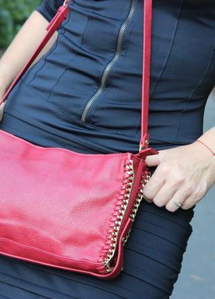 Красивая стильная женская красная сумка на длинной ручке zara trafaluc зара