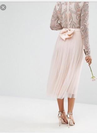 Нюдовая фатиновая юбка