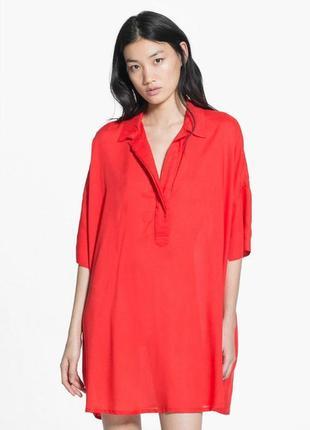Красное платье-рубашка mango свободного кроя (оверсайз)