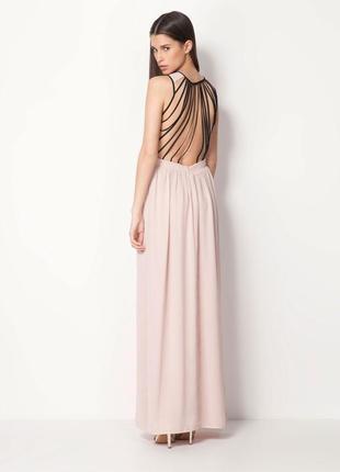 Вечернее шифоновое платье - сарафан в пол /макси bershka пудрово - черного цвета