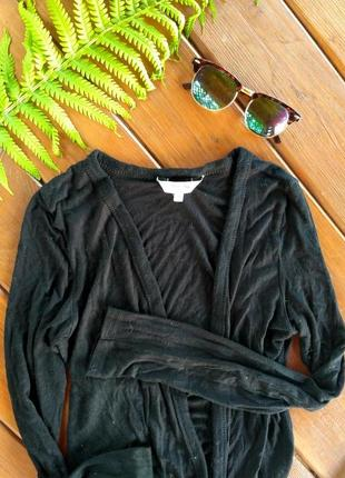 Легкая кофточка/кардиган черная с карманами