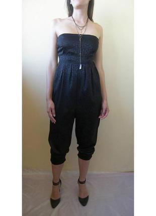 Черный комбинезон ромпер низ штаны верх бюстье или на бретелях есть бретели