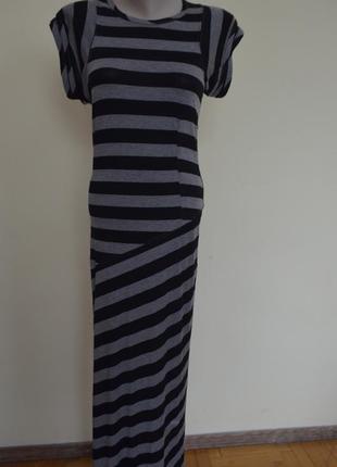 Длинное брендовое платье в полоску