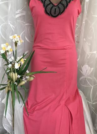 Коралловое 🌺🌺🌺 длинное платье сарафан макси,в пол, m-l, 46-48.