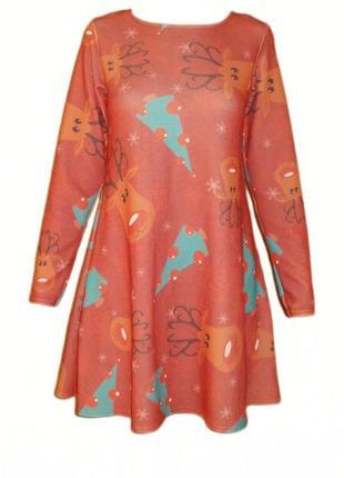 Платье свободного кроя с длинным рукавом, принт олени новогодние  можно для беременных
