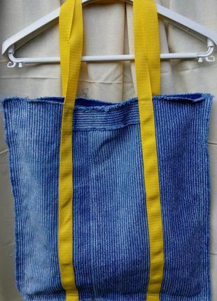Сумка шоппер джинс в мелкую полоску