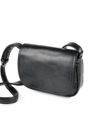 Женская черная сумка кроссбоди через плечо с динными ручками кожзам маленькая