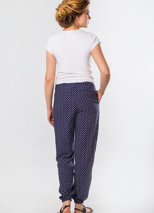 Летние брюки женские из штапеля с принтом якорьки4