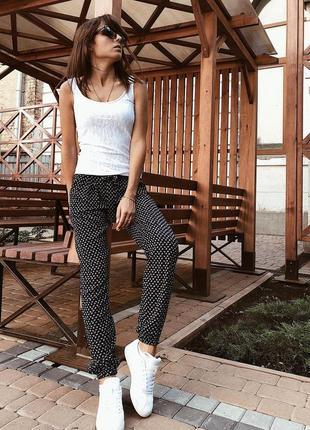 Летние брюки женские из штапеля с принтом якорьки1