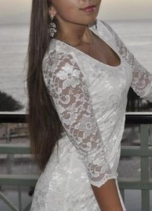 Белое кружевное платье asos