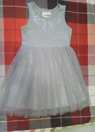 Трикотажное платье на 5 лет с фатиновой юбкой и камнями  beautees.