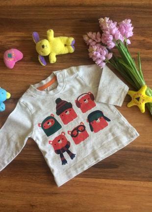 Веселенький реглан,кофта ,футболка с стильными медвежатами nutmeg 1-3 месяцев