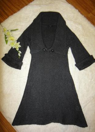 Вязаное платье, туника, кардиган vila  р. 46 (l) очень толстая. крупная вязка