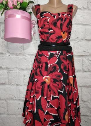 Платье миди коттоновое широкая юбка р 20-22 батал от next