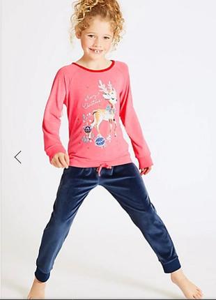 Милая пижамка с велюровыми штанишками от marks&spencer на 9-10 лет, англия