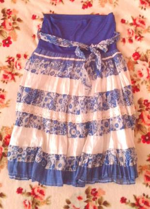 Летняя юбка миди ( можно для беременных)