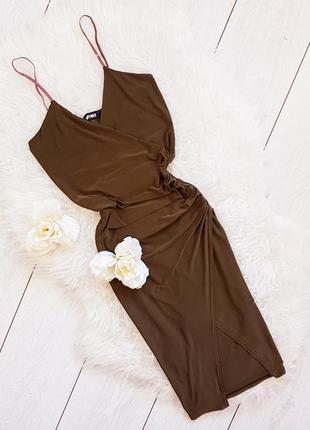 Элегантное платье миди хаки missguided
