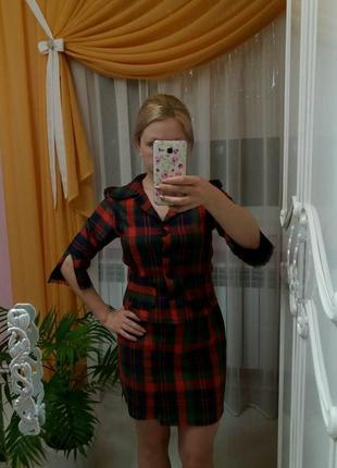 Костюм в клетку юбка пиджак