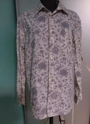 Рубашка мужская с цветочным серым принтом