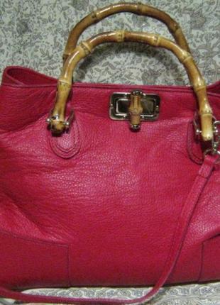 676ca4441d99 Новая кожаная сумка borse in pelle , с ручками из натурального бамбука,  италия1 фото ...