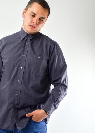 Lacoste серая оксвордская рубашка с логотипом, сорочка