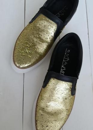 Новые слипоны золотые пайетки lanai sixtyseven 37 размер кожа