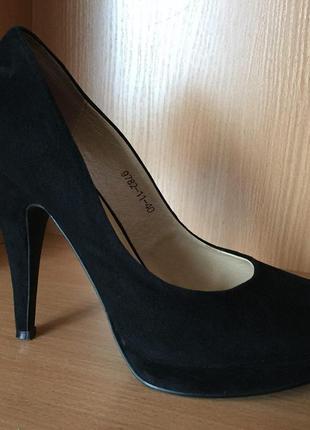 Туфли черные натуральный замш