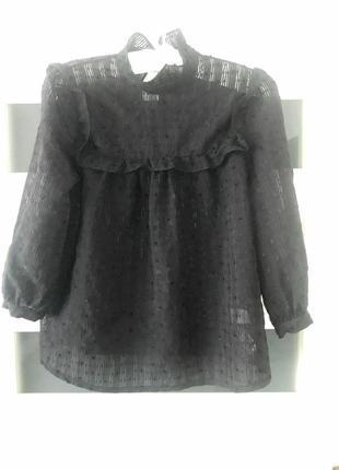 Блуза от atmosphere рубашка с рюшами  черная рукава флаконы 3/4