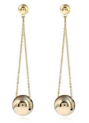 Длинные серьги золотистые шары2