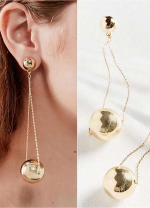 Длинные серьги золотистые шары1