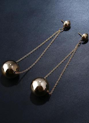 Длинные серьги золотистые шары4