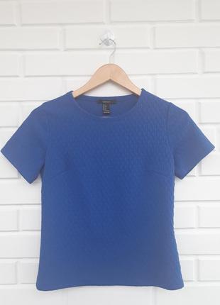 Фактурная синяя футболка блуза рубашка топ