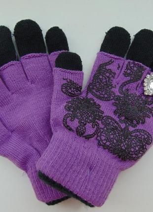 Перчатки митенки с колечком на 7-12 лет