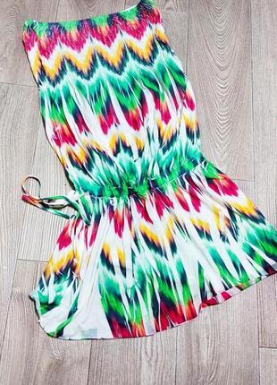 Платье туника сарафан яркое разноцветное заниженная талия на завязке