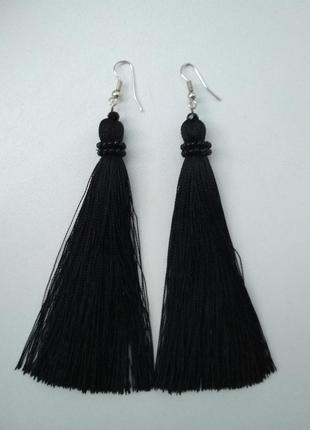 Повседневные черные серьги-кисточки hand made