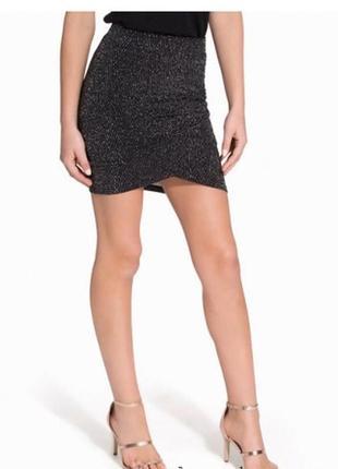 Стильная юбка с люрексом сборка сбоку спідниця1 фото