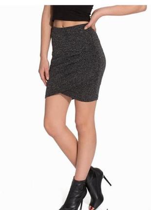 Стильная юбка с люрексом сборка сбоку спідниця2 фото