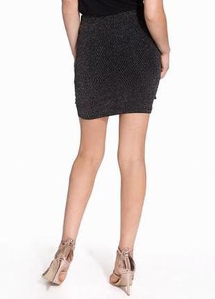 Стильная юбка с люрексом сборка сбоку спідниця3 фото
