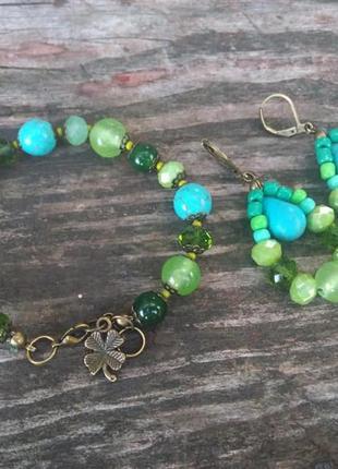 Браслет и серьги из натуральных камней, зеленые