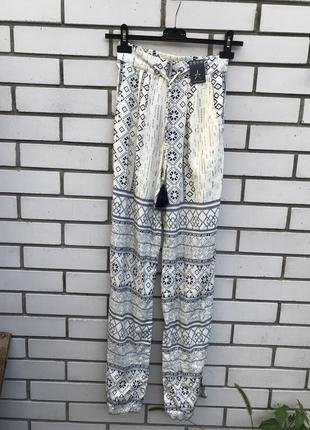 Новые,легкие,штапельные(вискоза 100%)штаны,брюки этно принт,маленький размер atmosphere