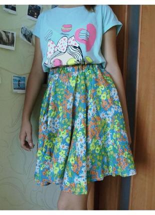 Красивая легкая юбка hand made в цветочный принт