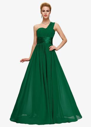 Шикарное зеленое нарядное праздничное вечернее платье
