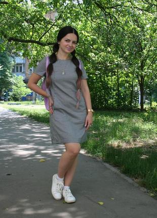 Оригинальное платье в гусиную лапку,миди.