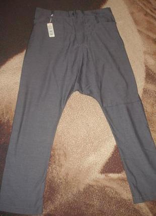 Мужские стильные  штаны с заниженной мотней.испания.утепленные.р джинсовый 33-34