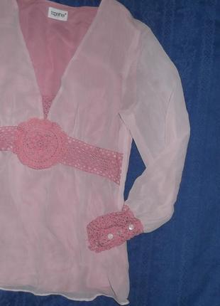 Блуза розовая шифоновая