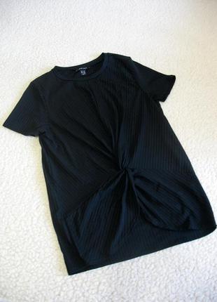 Черная футболка в рубчик с красивым переплетением new look