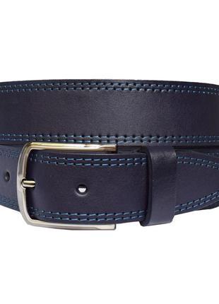 Orlando ремень синий кожаный под джинсы со строчкой кожа пояс кожанный ремінь шкіряний