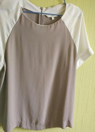 Блуза next бежевая с белыми короткими рукавами футболка топ бежевый