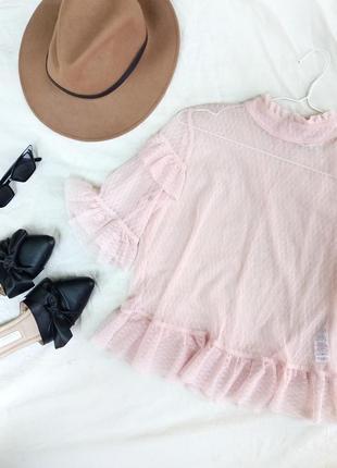 Милая блуза сетка с рюшами от miss selfridge